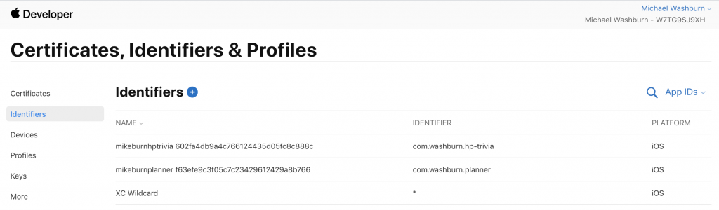 edit apple developer account identifiers