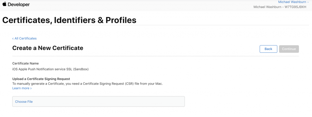 upload apple push notification certificate signing request (CSR)